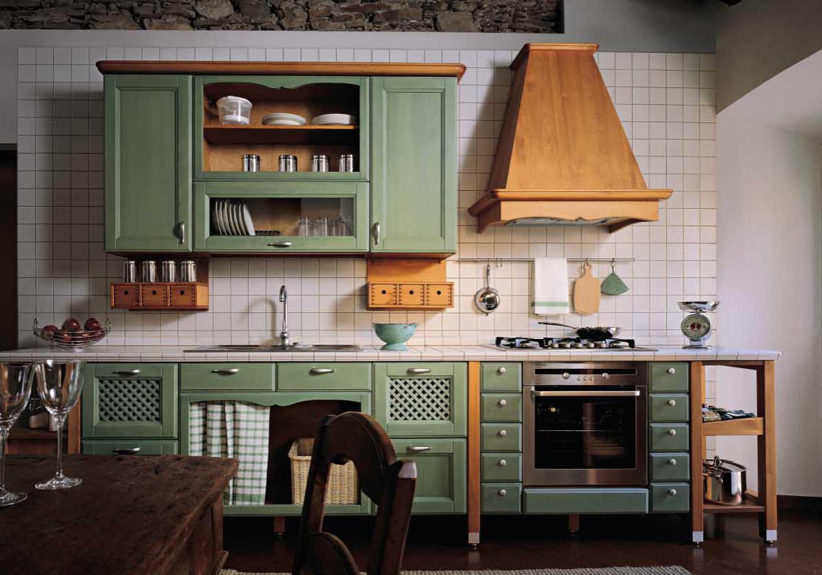 Прямая зеленая кухня с деревом