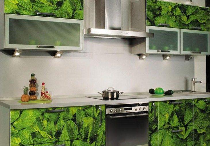 Прямая зеленая кухня с рисунком