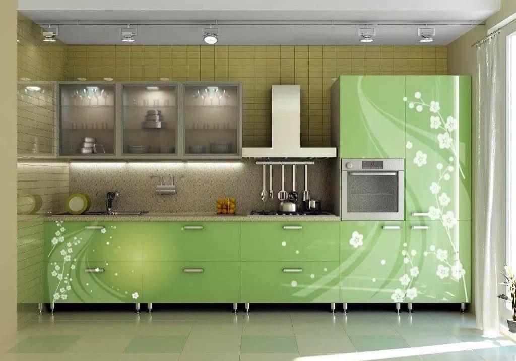 Прямая зеленая кухня с рисунком МДФ эмаль, глянец