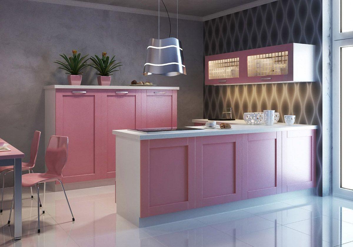 Розовая крашенная кухня МДФ