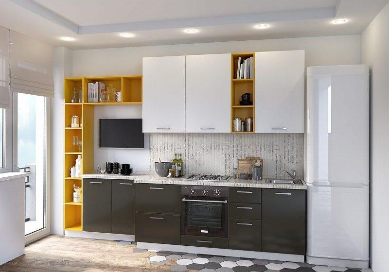 Серо-белая с желтым кухня, прямая матовая