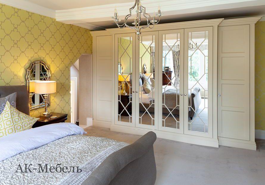 Шкаф МДФ крашенный эмаль для спальни с раскладкой на зеркале, комплект