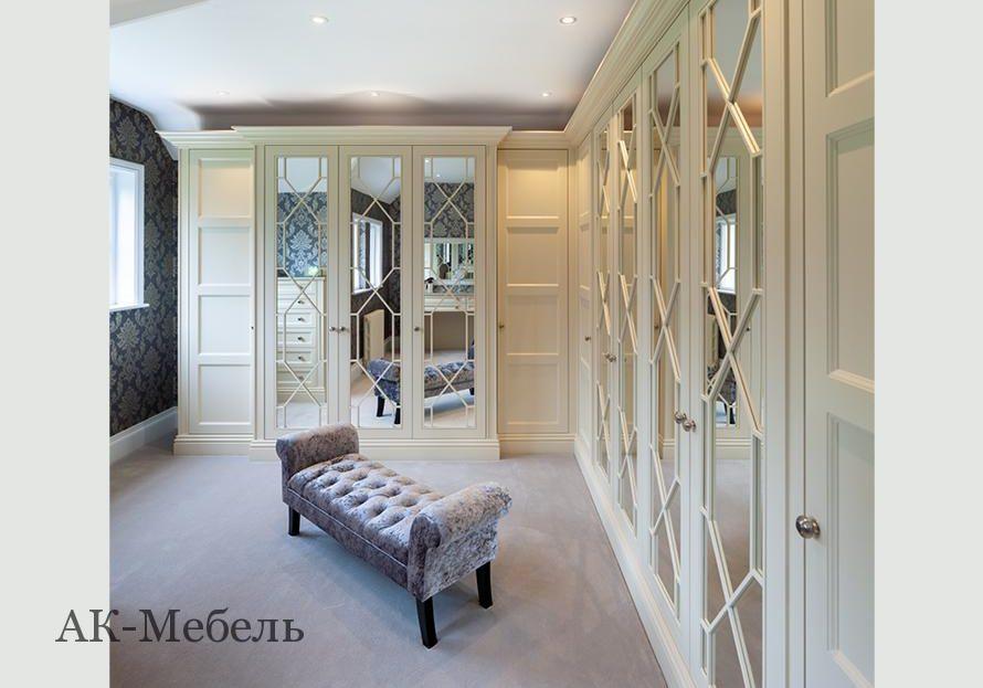 Шкаф МДФ крашенный эмаль для спальни с раскладкой на зеркале, углом