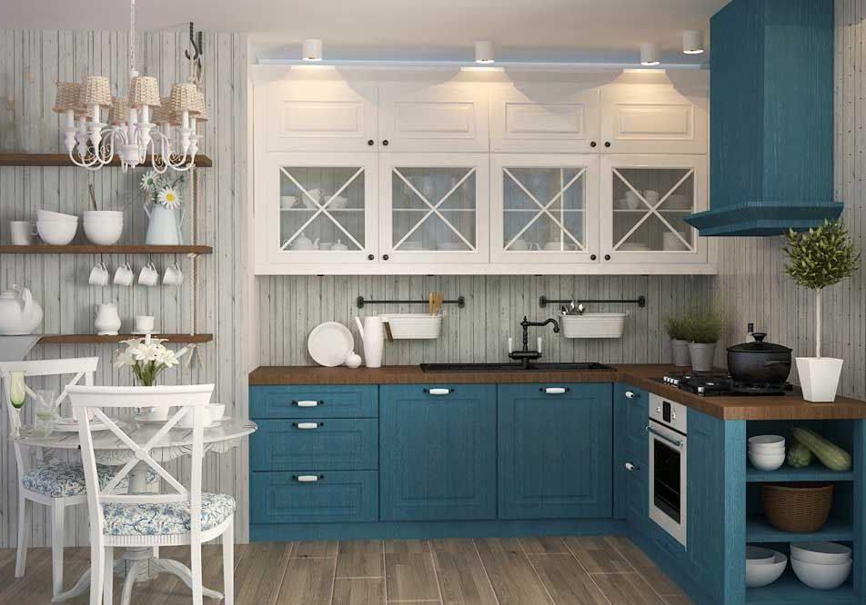 Сине-белая угловая кухня МДФ эмаль, модерн