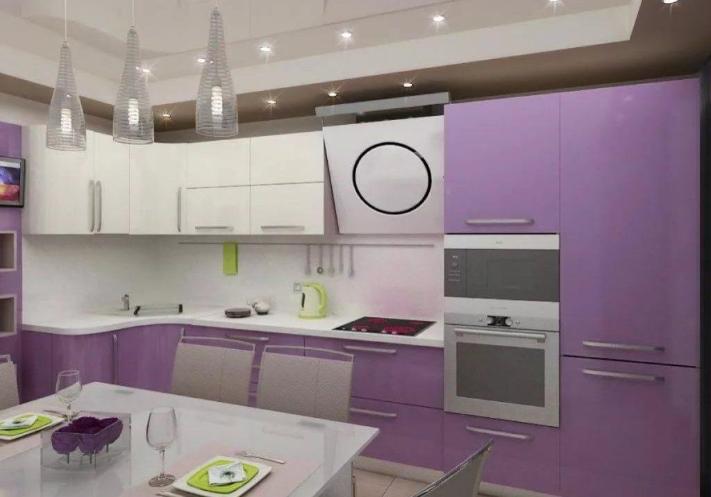 Современная бело-фиолетовая кухня угловая
