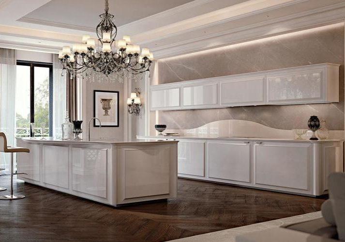 Современная глянцевая белая кухня с островом, хай-тек