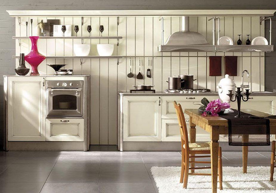 Современная кухня прованс с крашенными фасадами