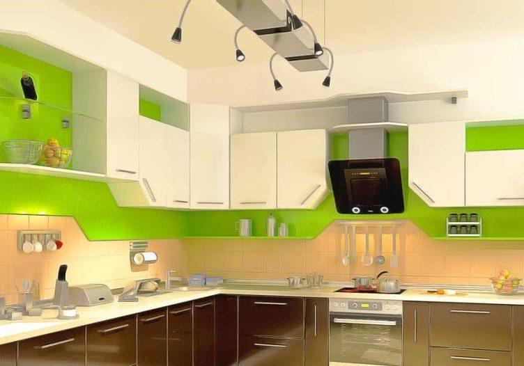Современный кухонный гарнитур, кухня зеленые и белые дверки
