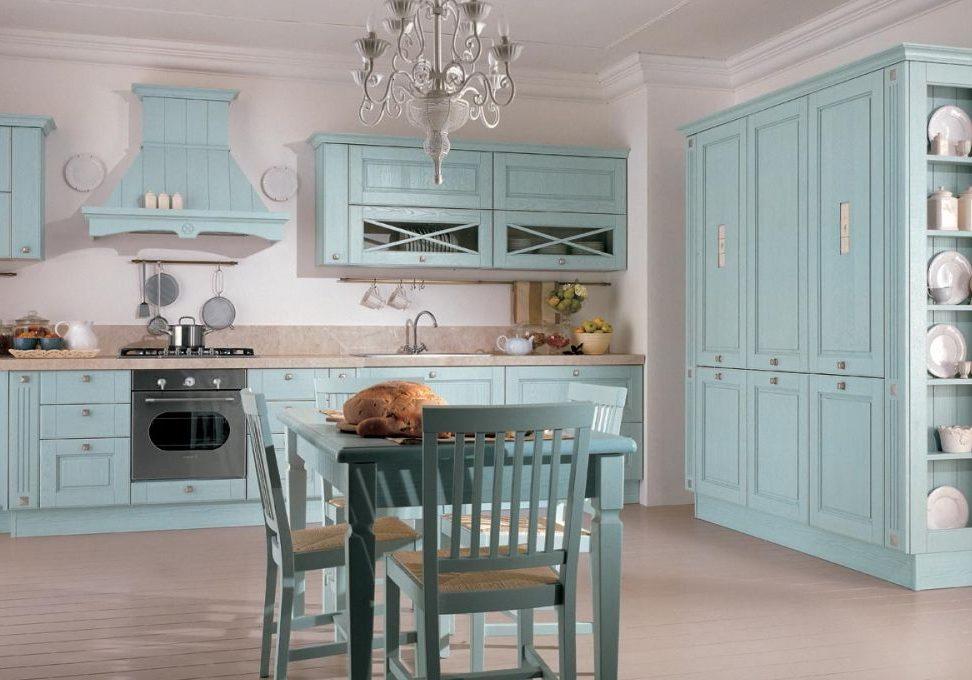 Стиль прованс, кухня с фасадами ясень