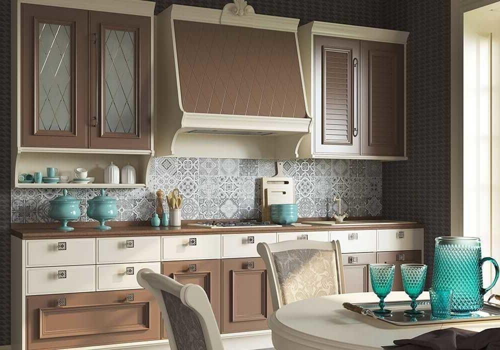 Стильная прямая кухня прованс, модерн, бело-коричневая, беж