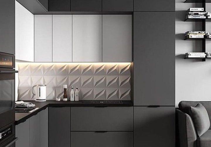 Угловая бело-серая кухня, фасады МДФ матовые