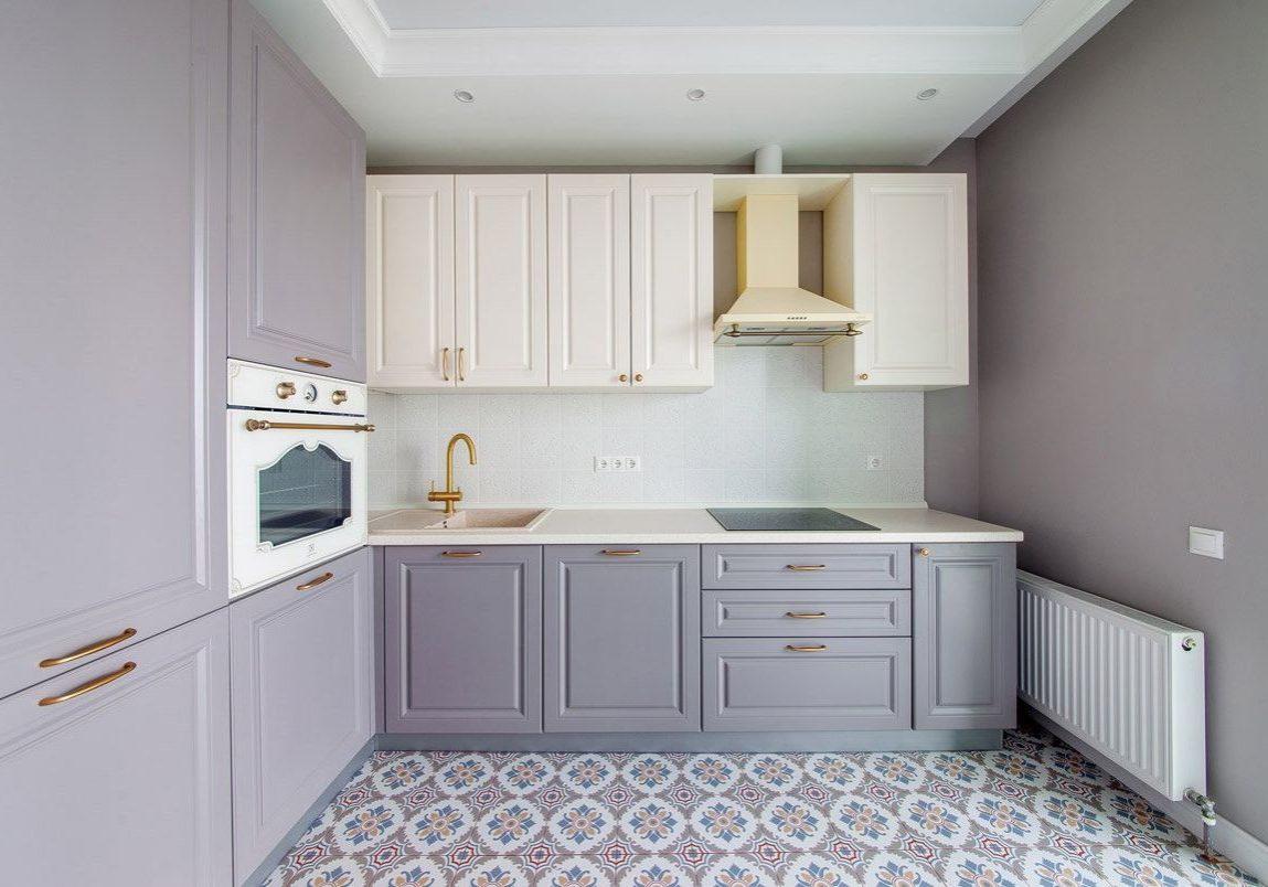 Угловая бело-серая кухня МДФ модерн, фрезеровнный