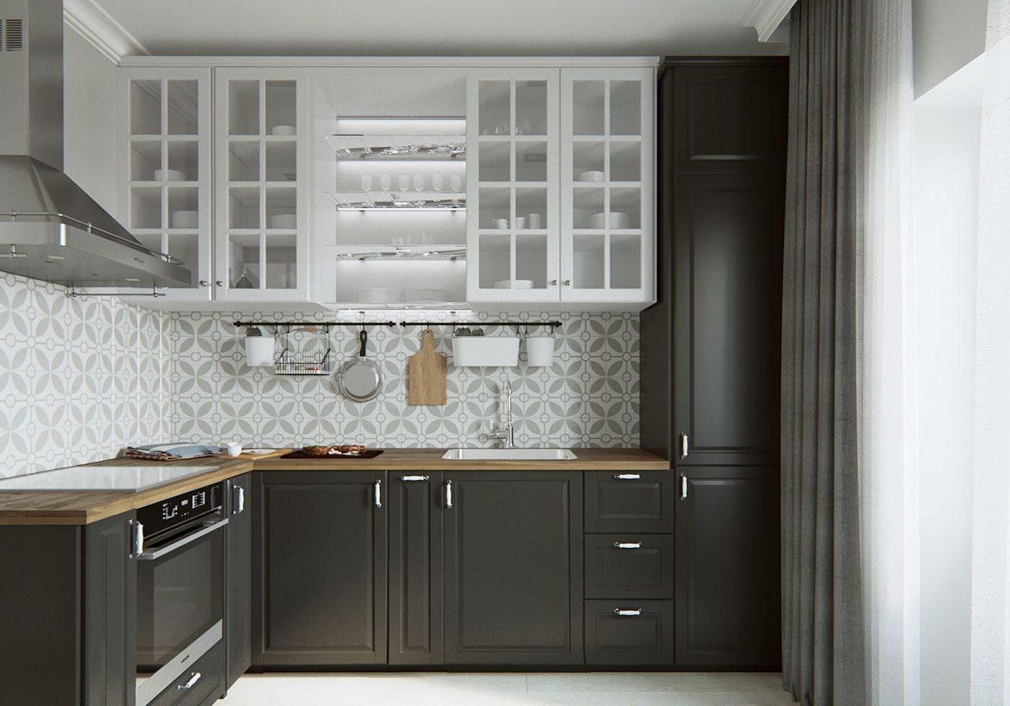 Угловая бело-серая кухня модерн, матовая МДФ