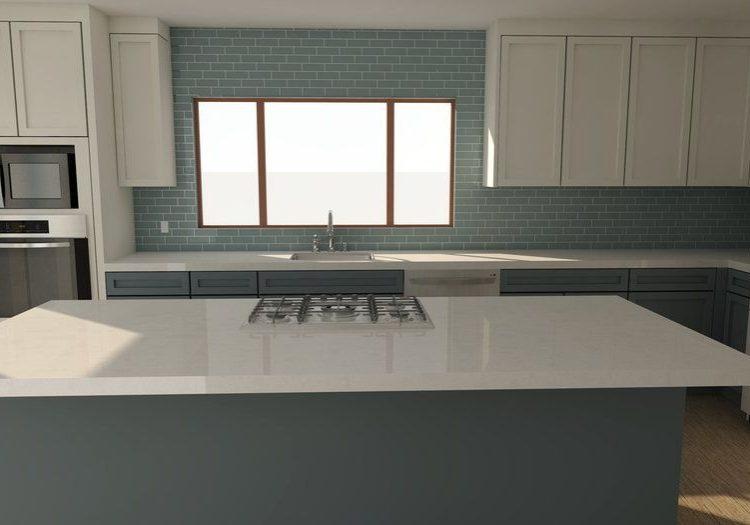 Угловая бело-серая кухня под окно с островом, модерн, матовая