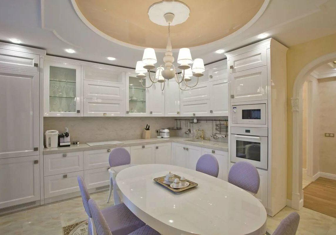 Угловая глянцевая белая кухня, модерн