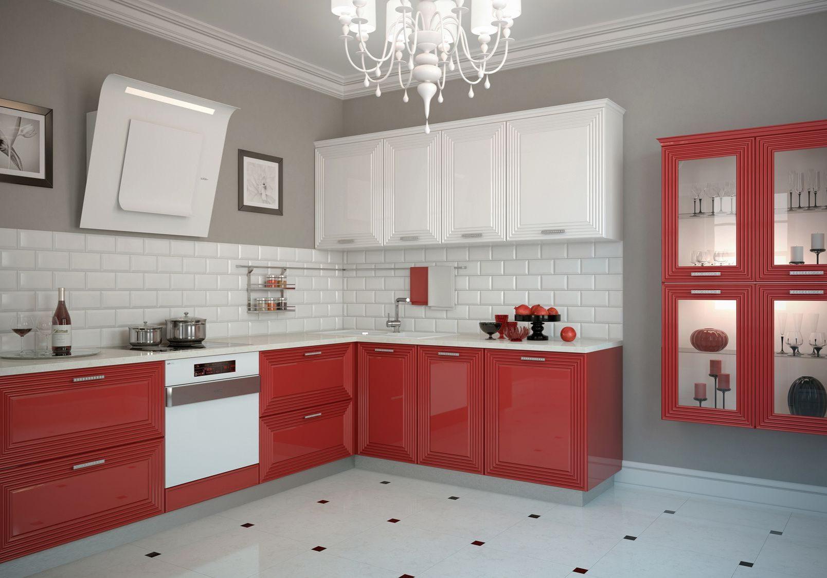 Угловая красно-белая кухня, глянец, МДФ фрезерованный