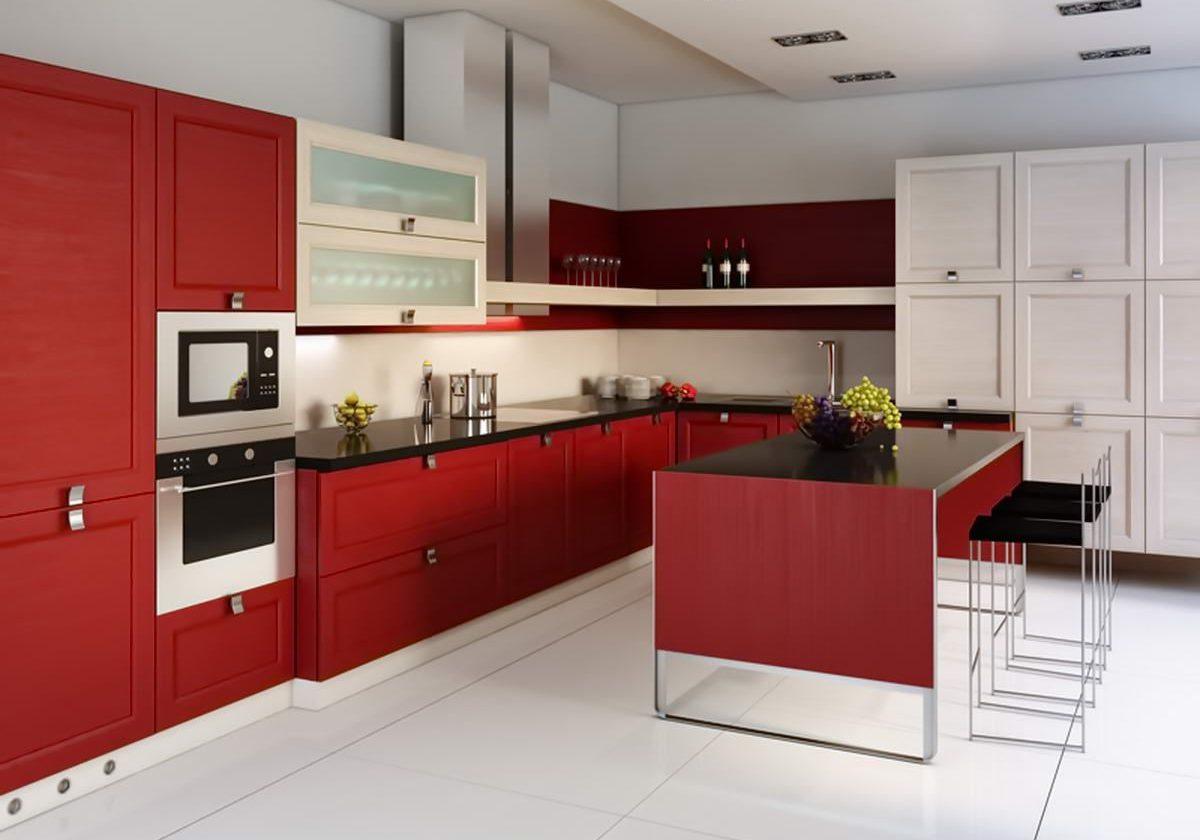 Угловая красно-белая кухня, матовая большая