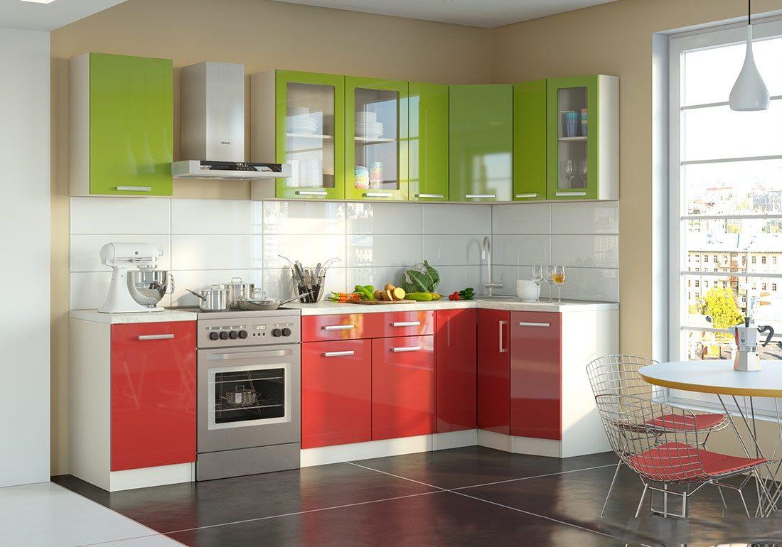 Угловая красно-зеленая кухня МДФпленка