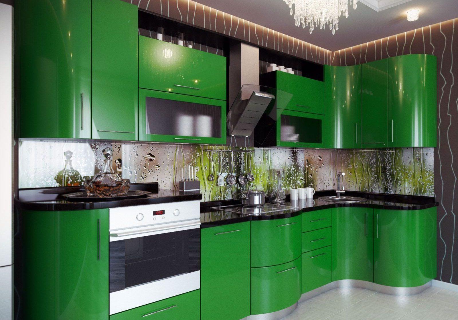 Угловая кухня темно-зеленого цвета с радиусными фасадами