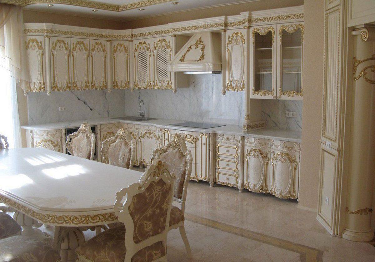 Угловая кухня в стиле барокко,белая с золотой поталью