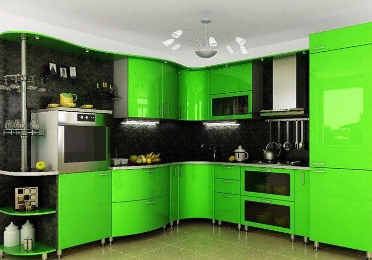 Угловая кухня ярко-зеленого цвета с радиусными фасадами