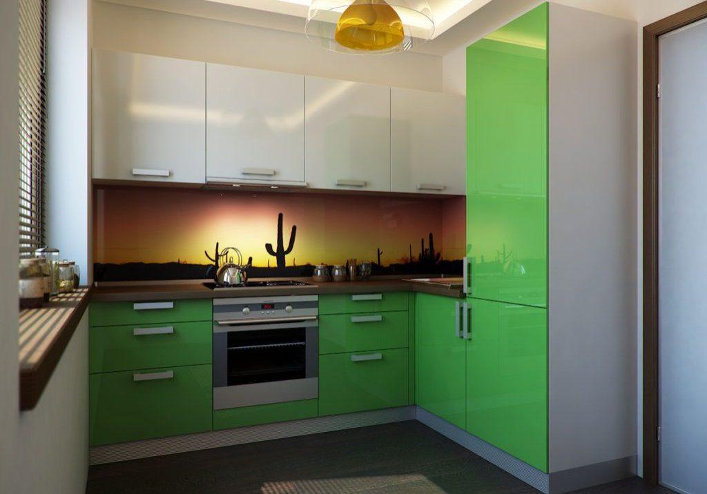 Угловая кухня зеленого цвета с пластиковыми фасадами