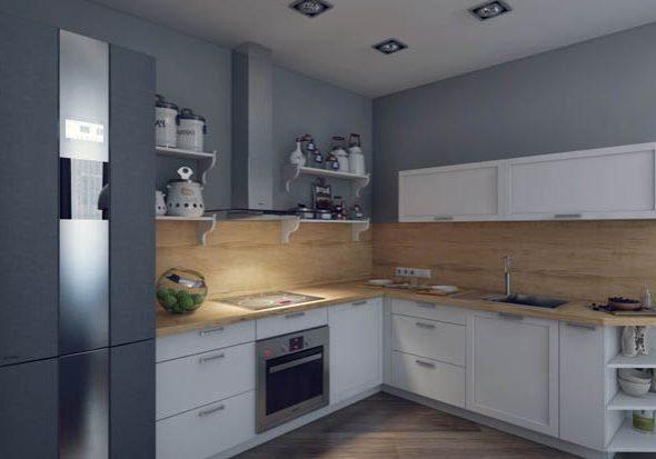 Угловая матовая кухня белого цвета с деревом