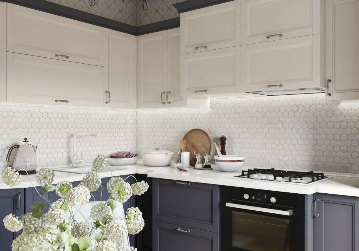 Угловая серо-белая кухня классика, модерн, матовая