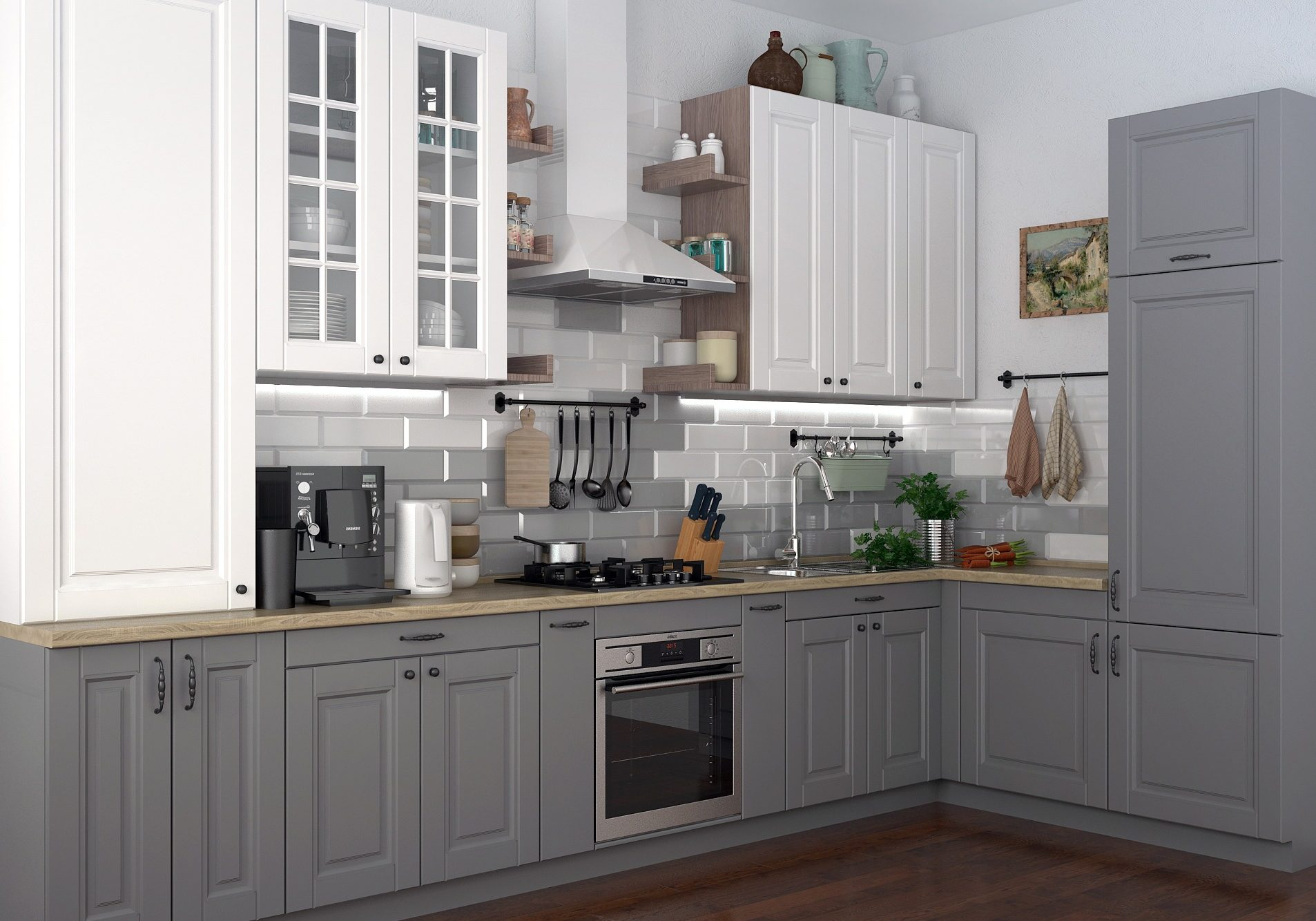 Угловая серо-белая кухня модерн
