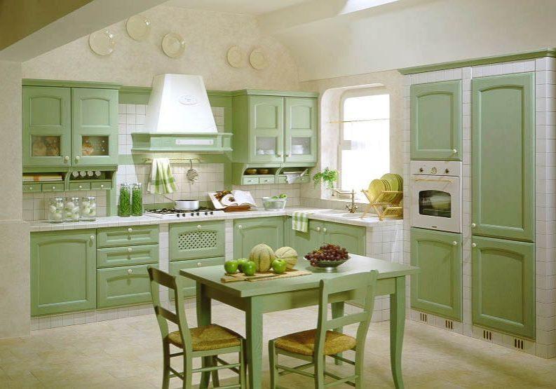 Угловая светло-зеленая кухня прованс, МДФ шпон, матовая