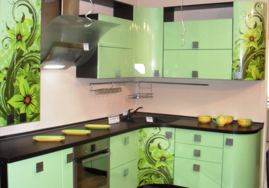 Угловая зеленая кухня МДФ эмаль с рисунком