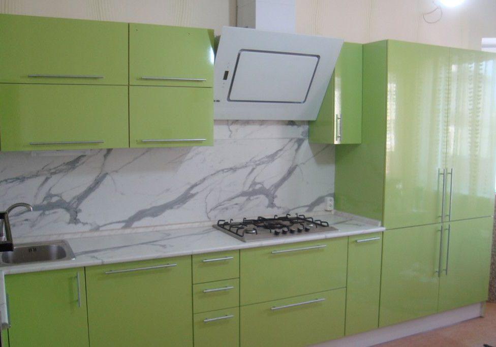 Угловая зеленая кухня МДФ пленка