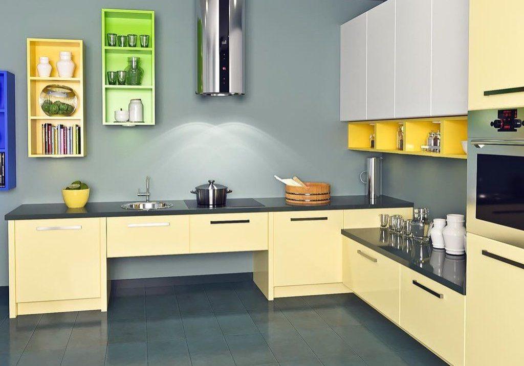 Угловая желто-белая кухня хай-тек, бежевый