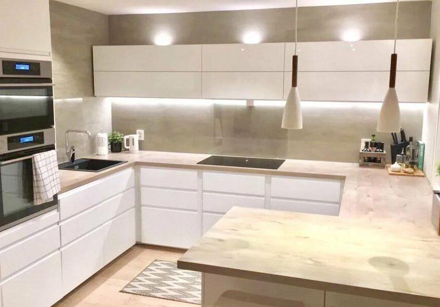 Угловые глянцевые белые кухни