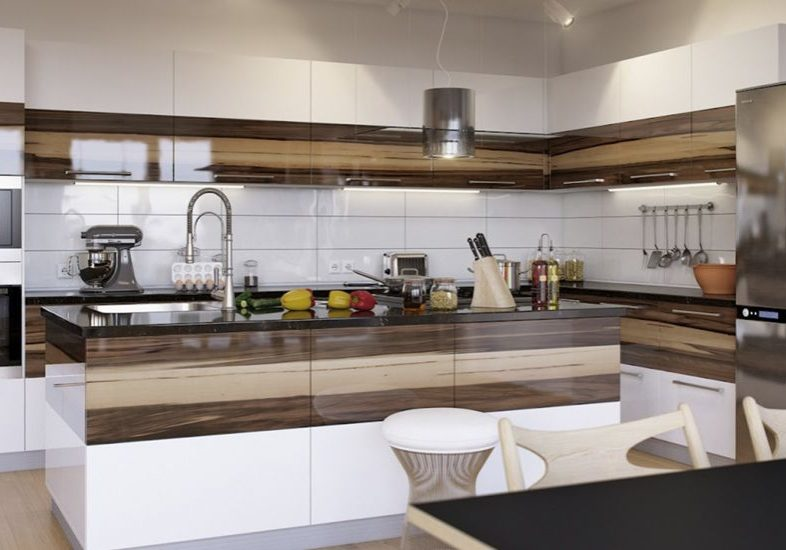 Уловая белая кухня с деревом и с островом