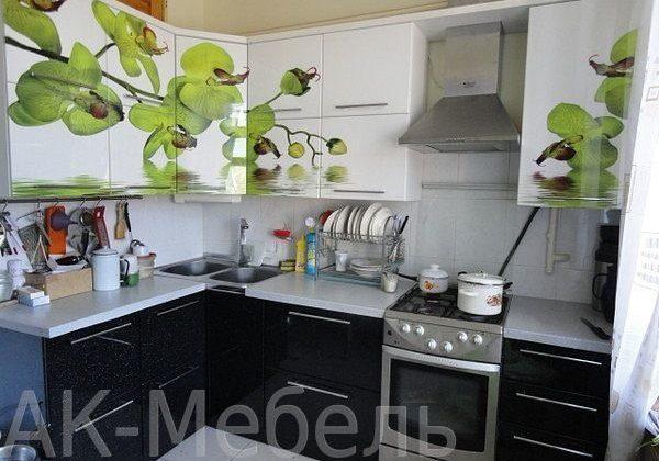 Черно-белая кухня с зеленым рисунком на фасадах