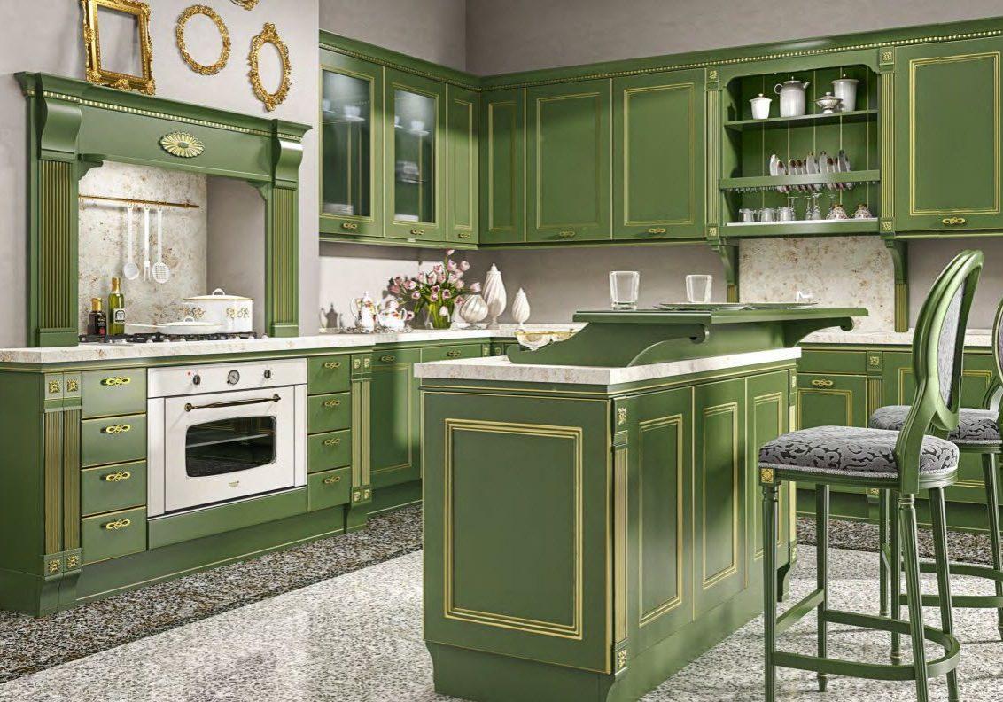 Зеленая кухня МДФ эмаль