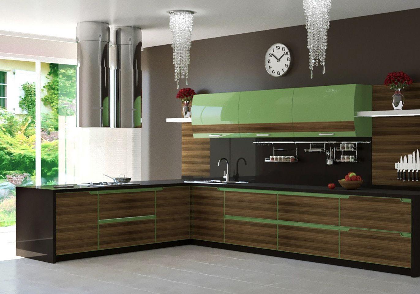 Зеленая кухня с сотровом под дерево