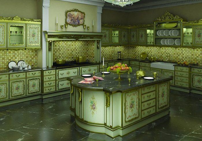 Зеленая кухня в стиле барокко
