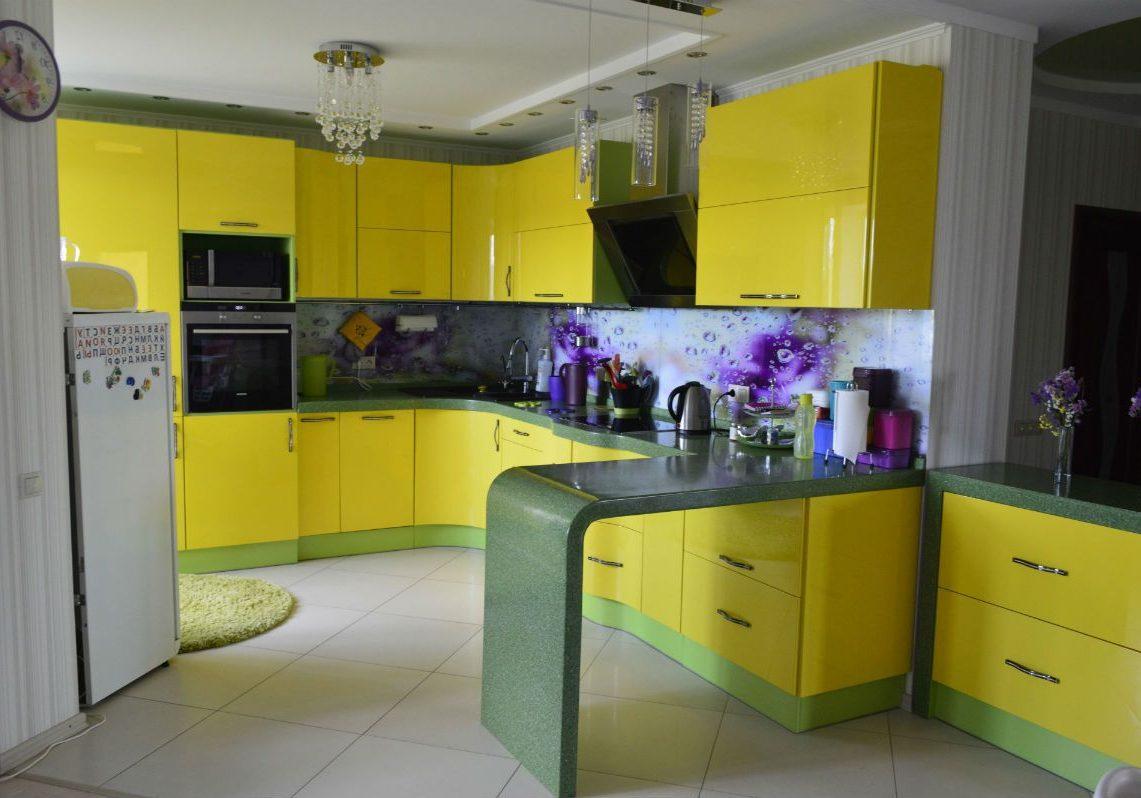 Желтая кухня МДФ эмаль